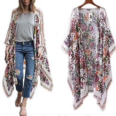 6f384cb74d384 WYTong Women's Loose Sheer Chiffon Floral Kimono Cardigan Long Tops Blouse  Outerwear (S, White
