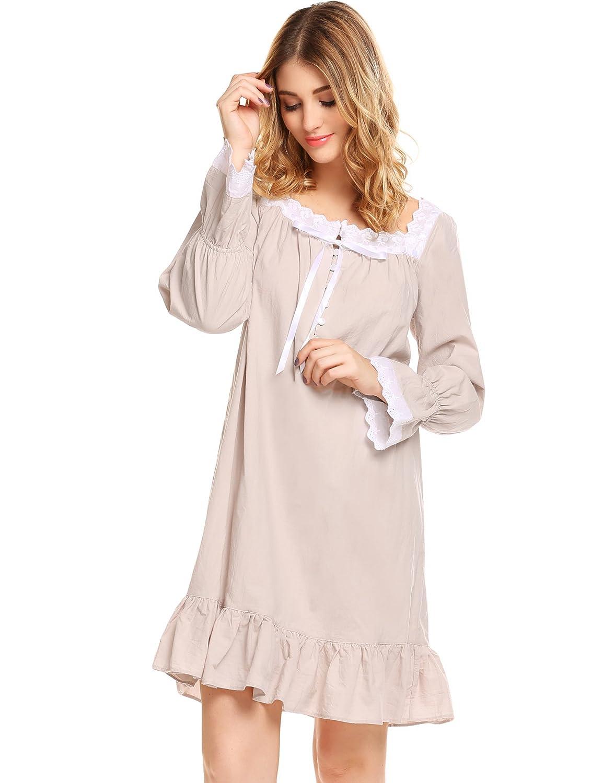 ac297e9bc4 Avidlove Women s Cotton Long Sleeve Sleepwear Victorian-Style Nightgown at  Amazon Women s Clothing store