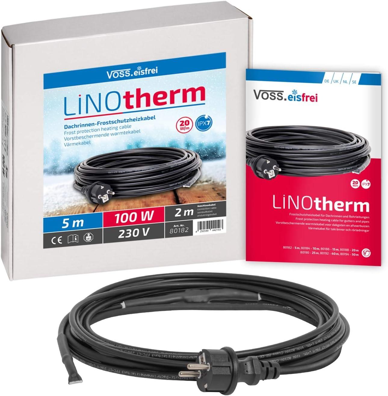 VOSS.eisfrei Heizkabel Linotherm 5 Meter lang, besonders hohe Heizleistung, Frostschutz für Dachrinnen und Wasserleitungen Rohrbegeleitheizung…