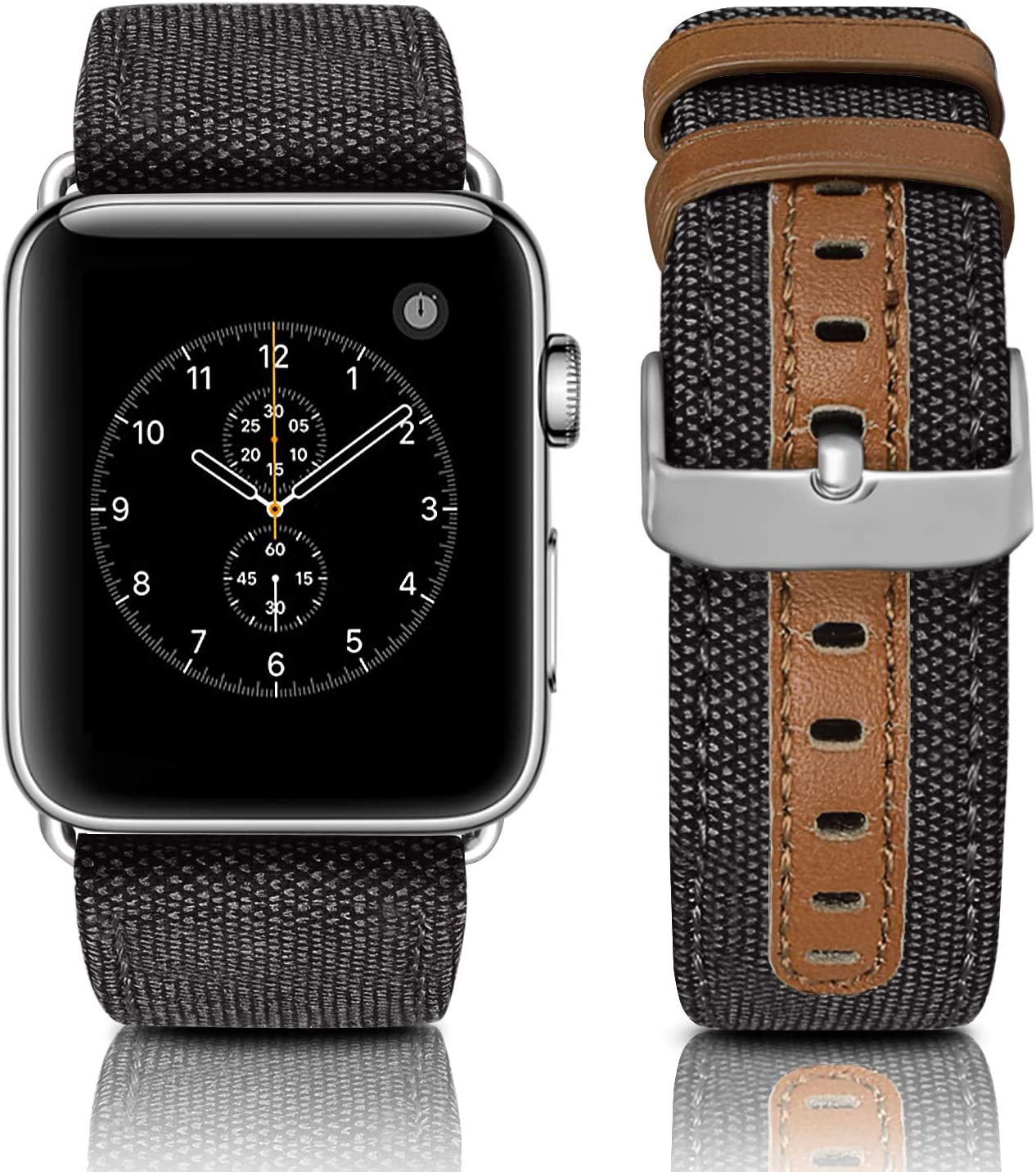 Jobese Compatible with Apple Watch Bands for Men Women 38mm/40mm 42mm/44mm, Canvas Fabric Genuine Leather Replacement Wristband Compatible with Apple Watch Series 4 5 6 SE 3 2 1
