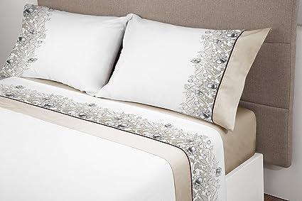 Manterol ALGODONEA- Juego de sábanas 100% algodón, (beij, 135): Amazon.es: Hogar