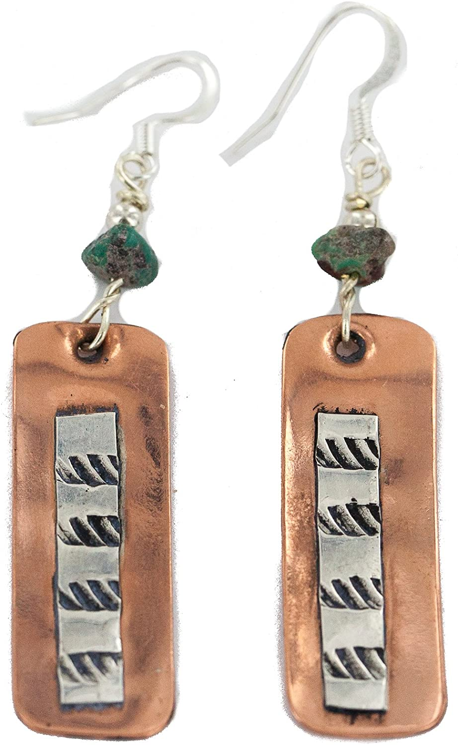 $300Tag Certified Silver Hooks Navajo Turquoise Native Copper Dangle Earrings 18210-6 Made By Loma Siiva
