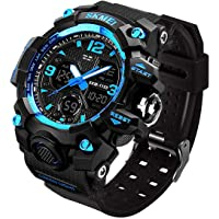 Men's Analog Sports Watch, LED Military Digital Watch Electronic Stopwatch Large Dual Dial Time Outdoor Army Wrist Watch Tactical