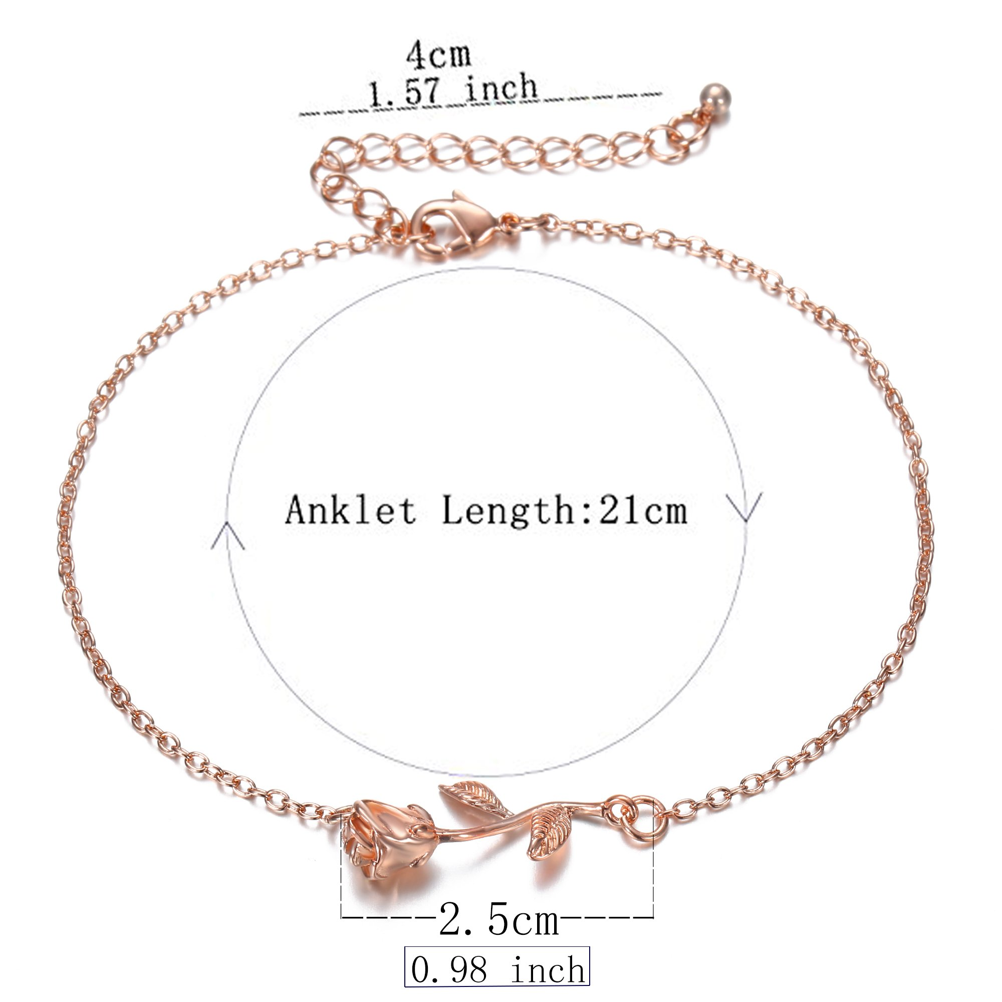 3UMeter Rose Women Girls Anklets Jewelry Exquisite Rose Gold Electroplate Brass Anklets Female, Great Foot Decoration Gift Valentine Mother's Day Birthday by 3UMeter (Image #5)