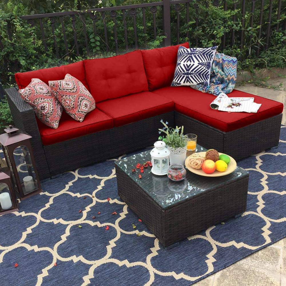 PHI VILLA 3 Piece New Outdoor Furniture Sectional Sofa Patio Set Upgrade Rattan Wicker, Red by PHI VILLA