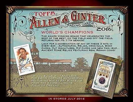 2017 Topps Allen /& Ginter Baseball Hobby Box 24 packs of 8 cards