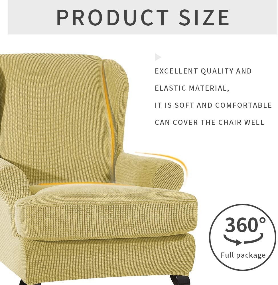 LASPERAL Jacquard Wing Chair Covers Elastic 2-Piece Wingback Armchair Covers with Removable Arms Slipcovers Sofa Covers Fabric Couch Slipcover Furniture Protector