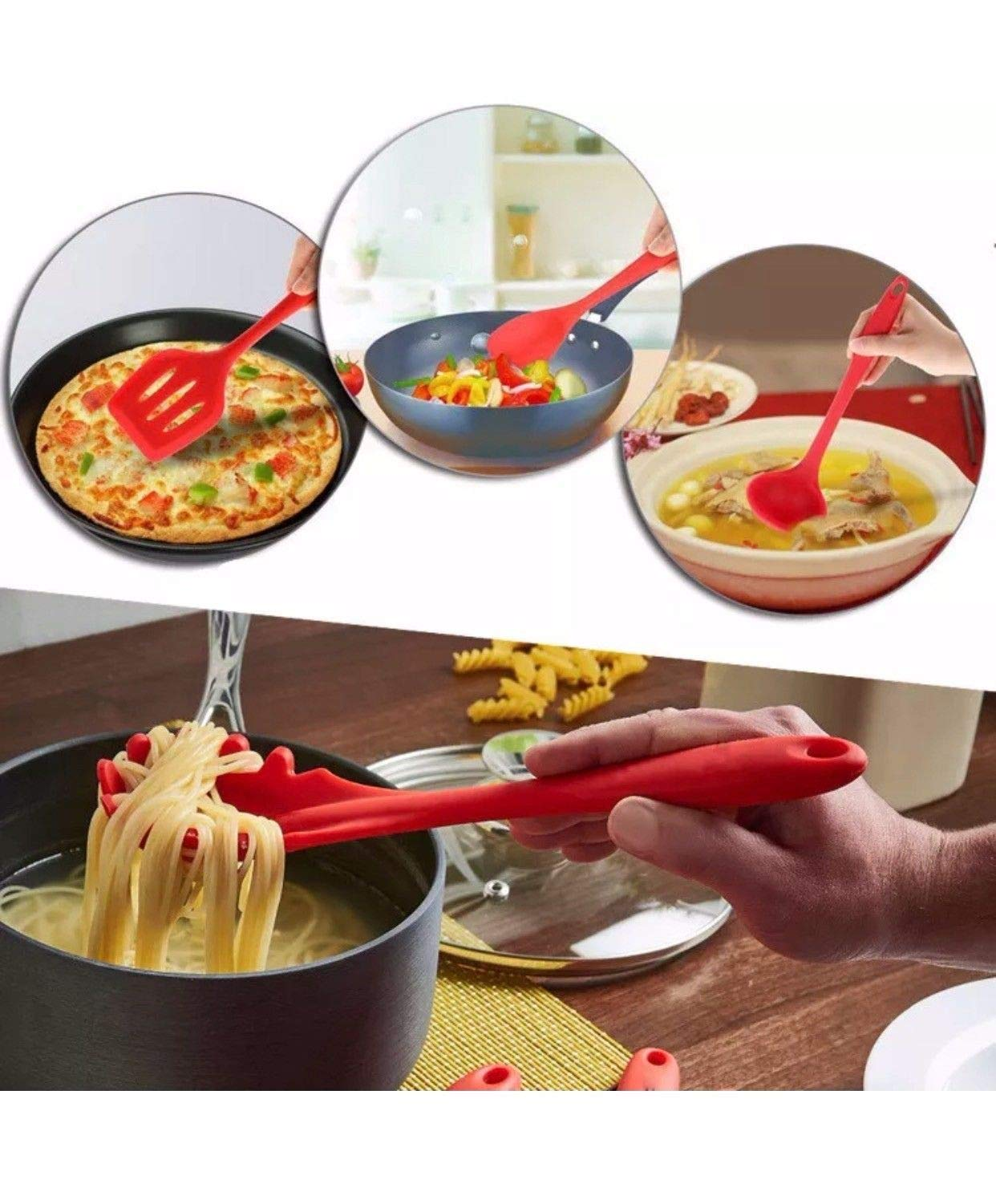 Kitchen Utensils, Silicone Heat-Resistant Non-Stick Kitchen Utensil Set Cooking Tools 10+1 Piece,Turner, Whisk, Spoon,Brush,spatula, Ladle Slotted turner Tongs Pasta Fork and Free Spoon Rest by iLuckyvision (Image #6)