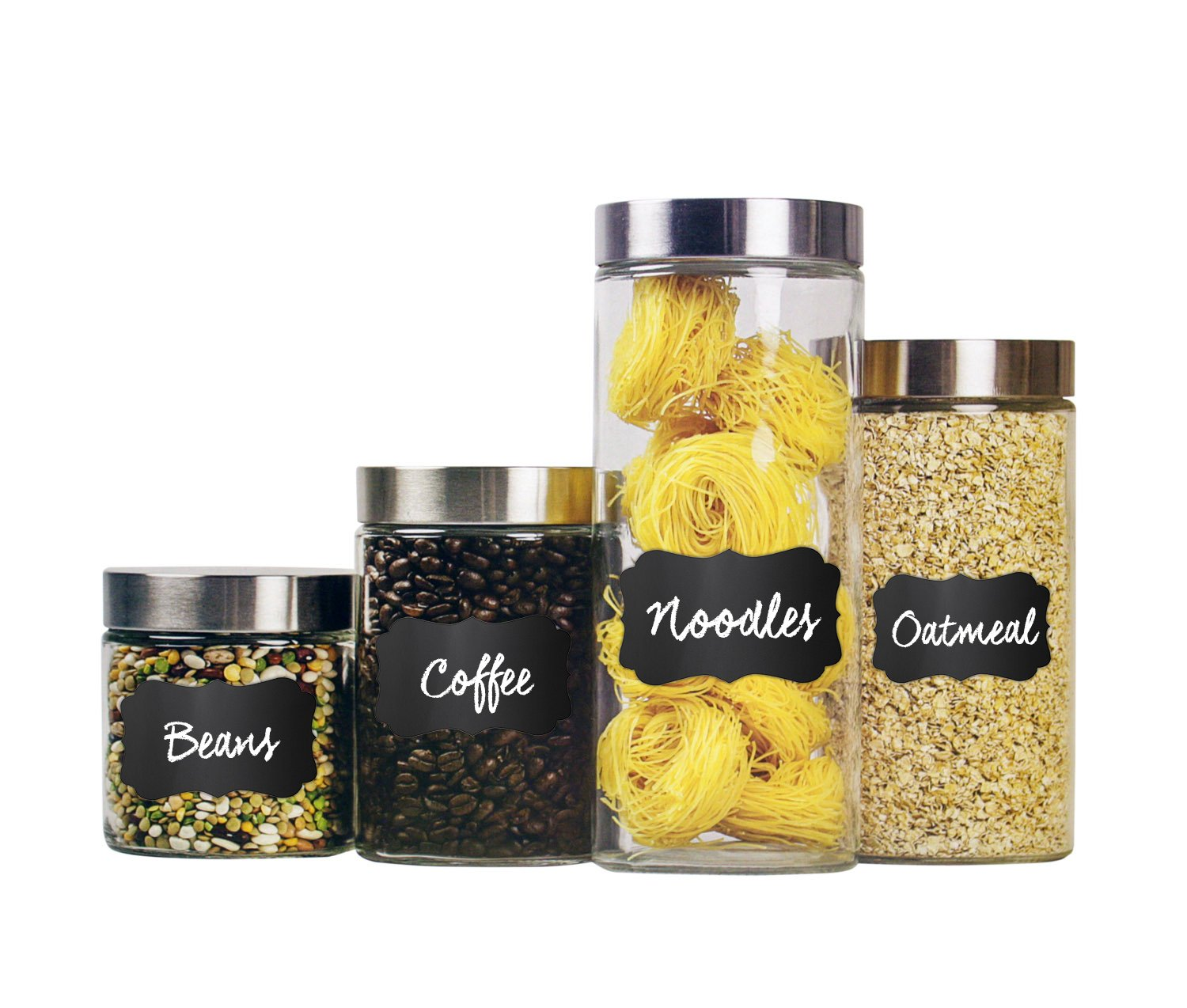 Home Basics 4 Piece Round Glass Canisters with Stainless Steel Airtight Screw On Lid Food Storage and More HDS Trading Corp CS10239