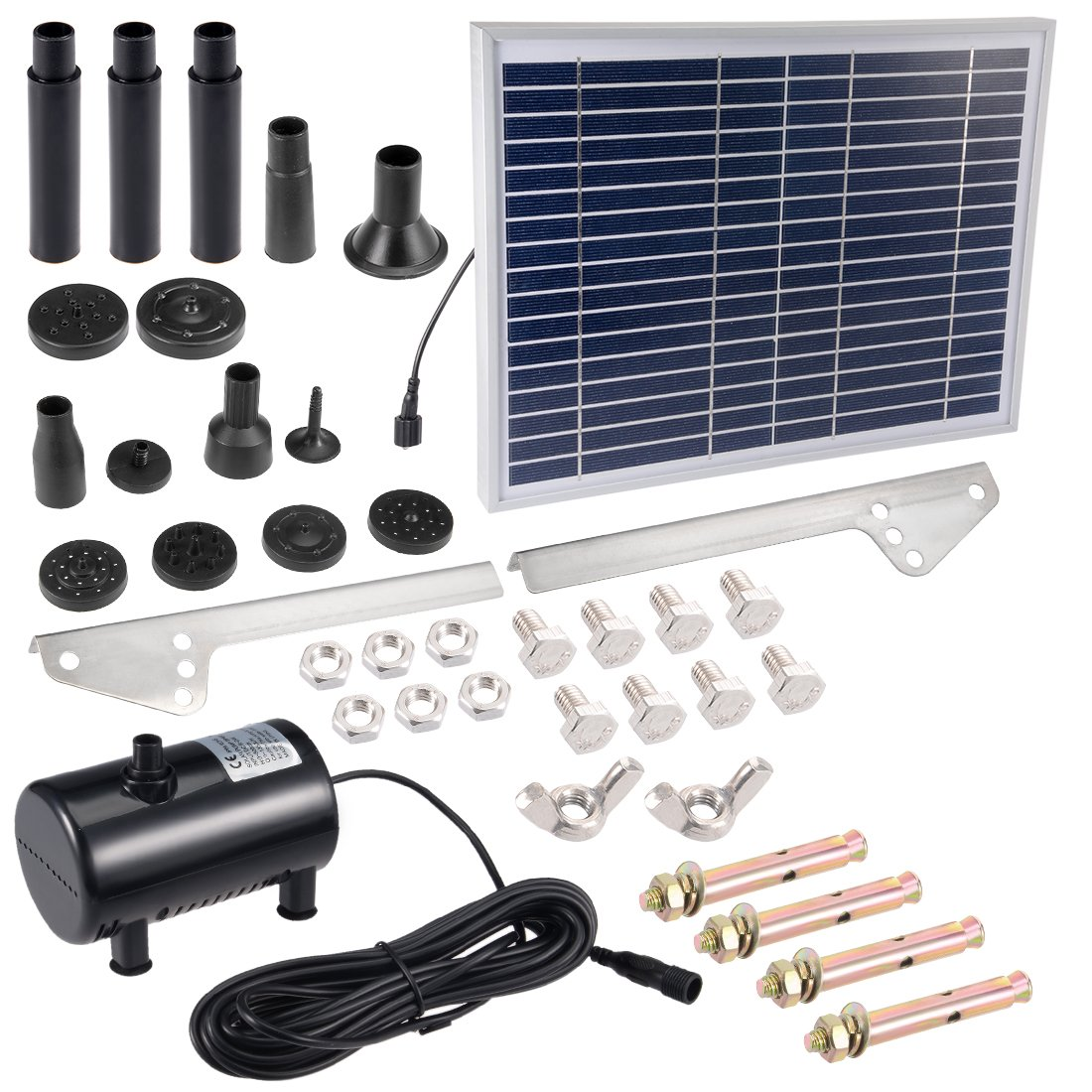 uxcell Solar Water Pump Kit 10W 3M/9.8ft Wire Length with 7 Sprinkler Heads,Submersible Solar Water Pump,Garden Fountain Pool Watering Pond Pump Pool Garden Patio Bird Bath with Separate Solar Panel