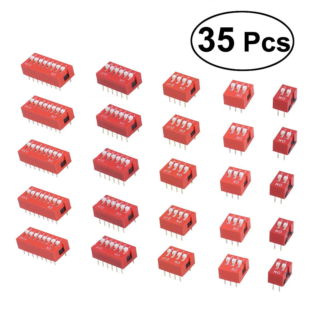 ueetek Schiebeschalter Dip-35pcs Schalter-Codierung von Elektronenkonfiguration fü r Leiterplatte