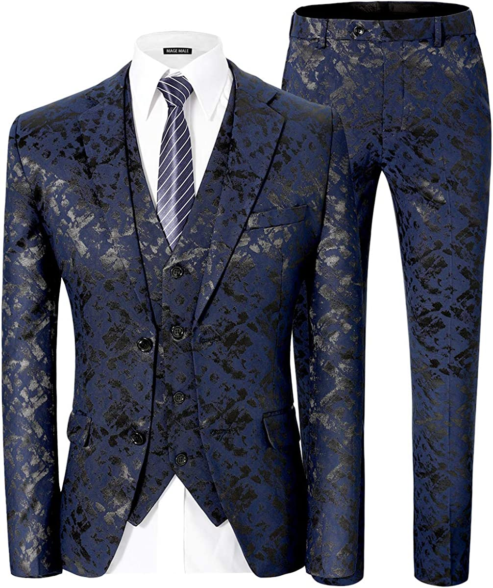 MAGE MALE Men's Pinstripe 3 Piece Suit Slim Fit Elegant Single Breasted Business Wedding Party Blazer Vest& Pants Set
