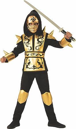 Rubies 641143-M Disfraz ninja dragon gold para niño, talla 5-7 ...