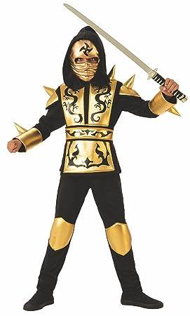 Rubies 641143-M Disfraz ninja dragon gold para niño, talla 5-7 años