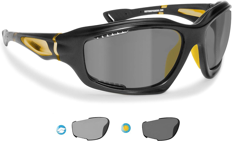 BERTONI Gafas de Sol Deportivas Polarizadas Fotocromáticas para Deporte Ciclismo MTB Pesca Esqui Golf Running Kitesurf - P1000FT Italy (Negro Mate - Amarillo): Amazon.es: Deportes y aire libre