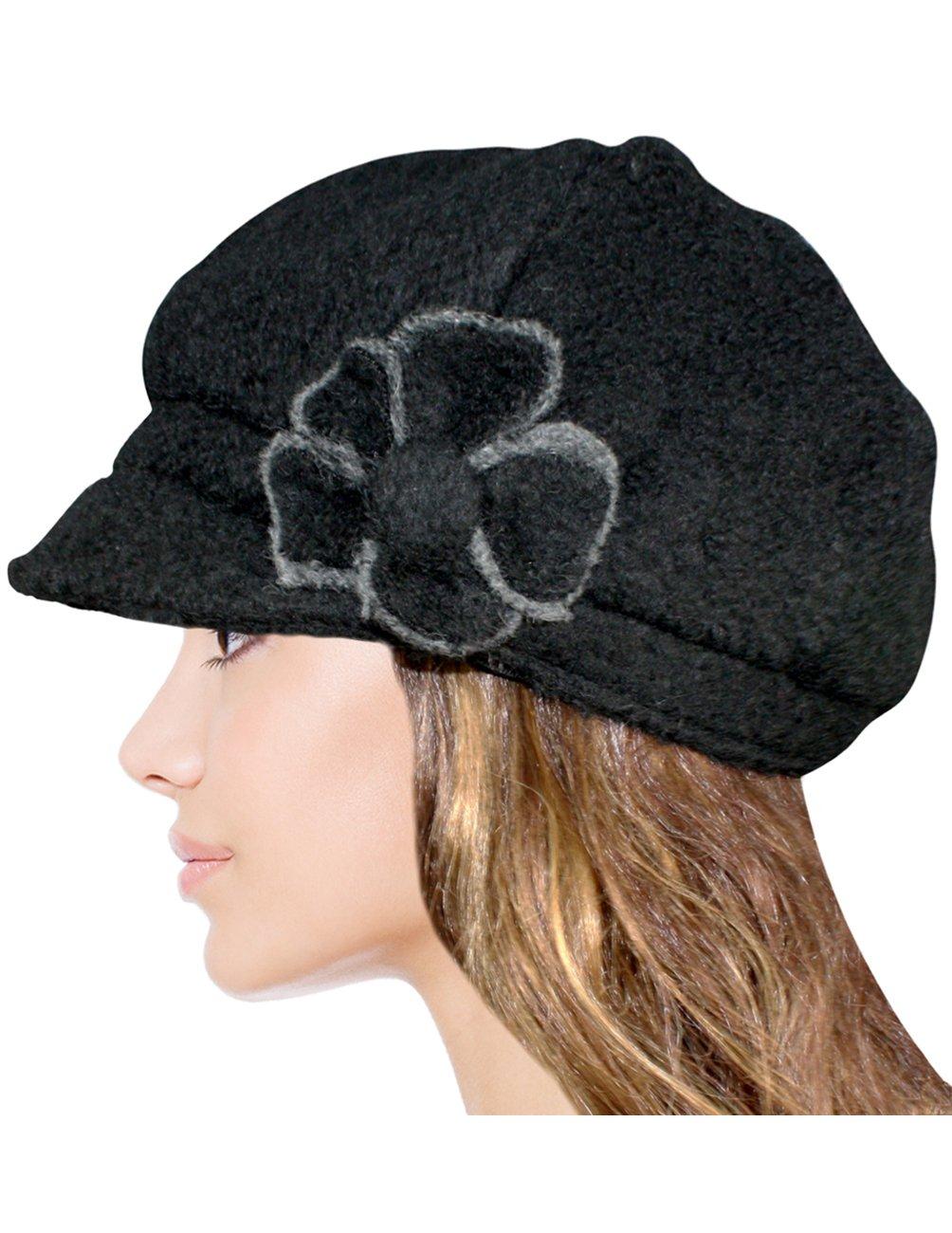 Dahlia Women's Chic Flower Newsboy Cap Hat Wool Blend - Dual Layer, Black by Dahlia (Image #4)