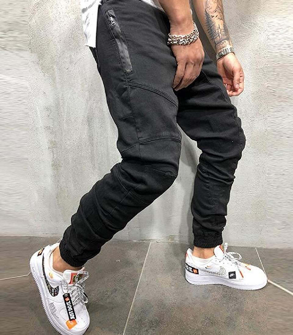 WAWAYA Mens Athletic Cargo Casual Side Zip Up Elastic Waist Stitching Jogger Pants