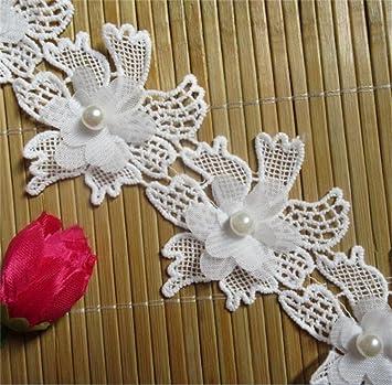 e042be57f4a0 Qiuda 1 Meter Blume Perle Spitze Rand Chiffon Trim Band 6,5 cm Breite  Vintage