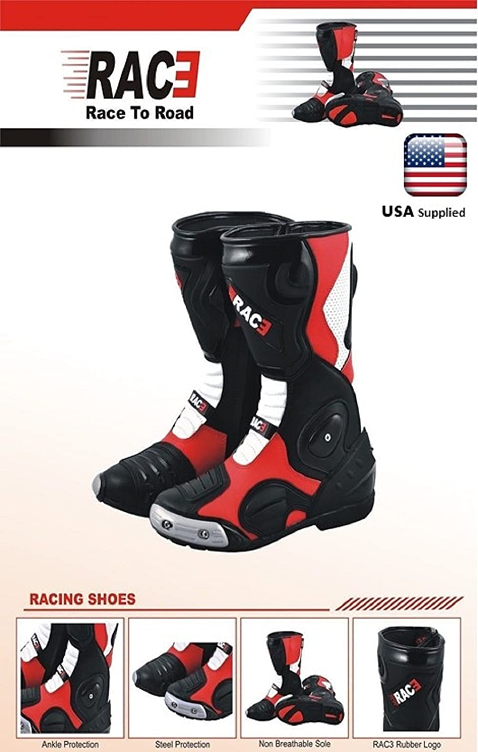 NEW ORIGINAL RAC3 MOTORCYCLE MOTORBIKE REAL LEATHER RACE SPORT ARMOR BOOTS WHITE