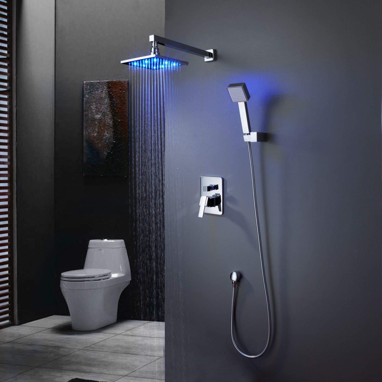 Set per doccia e vasca da bagno con LED e soffione a pioggia cromato