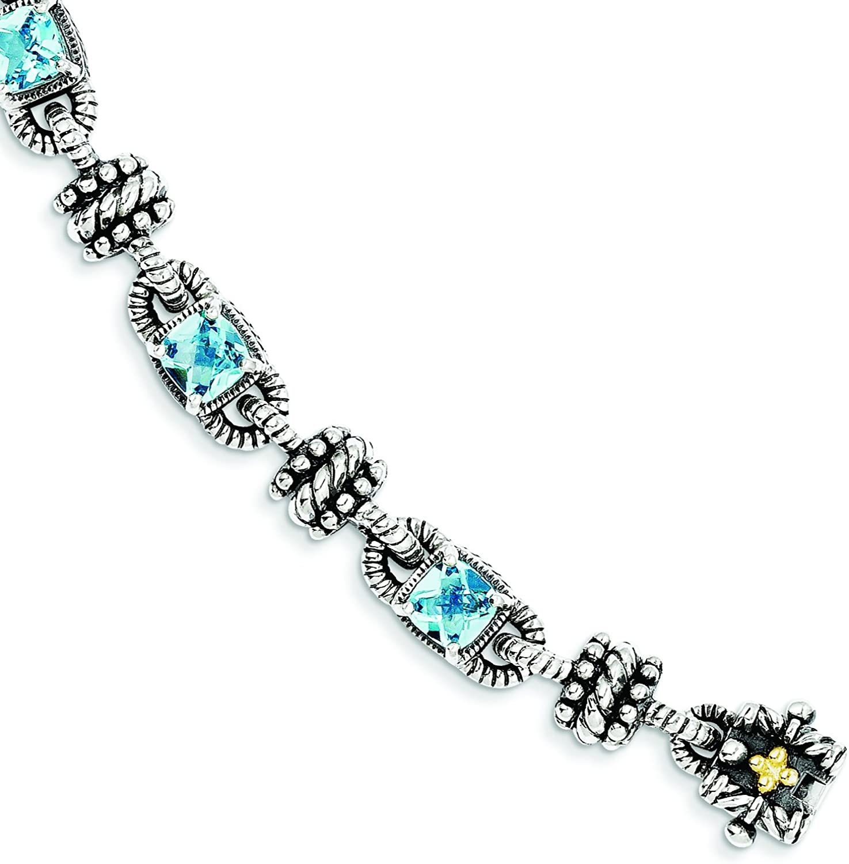 DIAMOND2DEAL INC Pulsera de topacio Azul Suizo de Oro de 14 Quilates y Plata de Ley