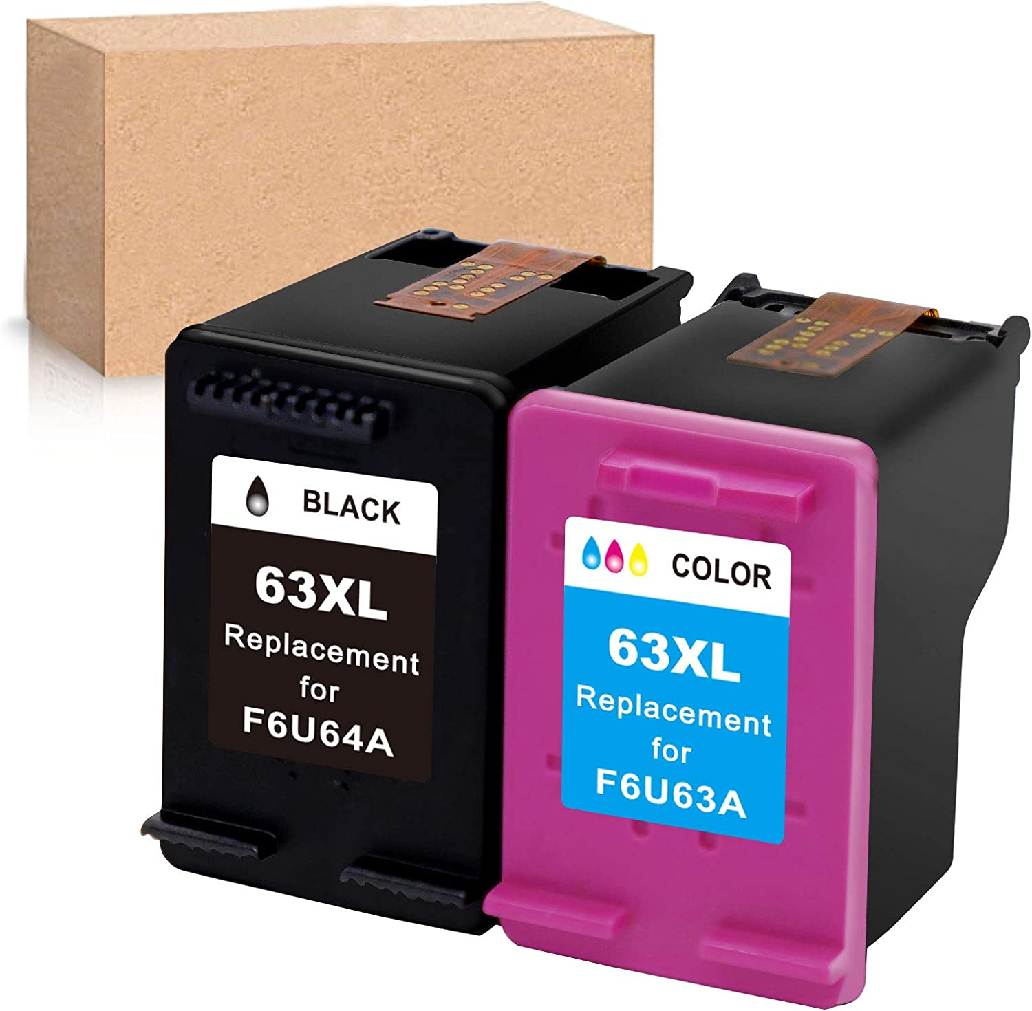 Economink Remanufactured Ink Cartridge Replacement for HP 63XL 63 XL Black Tri-Color Used in Envy 4520 3634 OfficeJet 3830 5252 4650 5258 4655 4652 5255 DeskJet 3636 1111 3630 1112 3637 3632 Combo