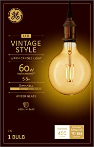 GE Lighting 42184 Clear Finish Light Bulb Dimmable LED Vintage Style G40 5.5 (60-Watt Replacement), 400-Lumen Medium Base, 1-Pack, Amber Glass