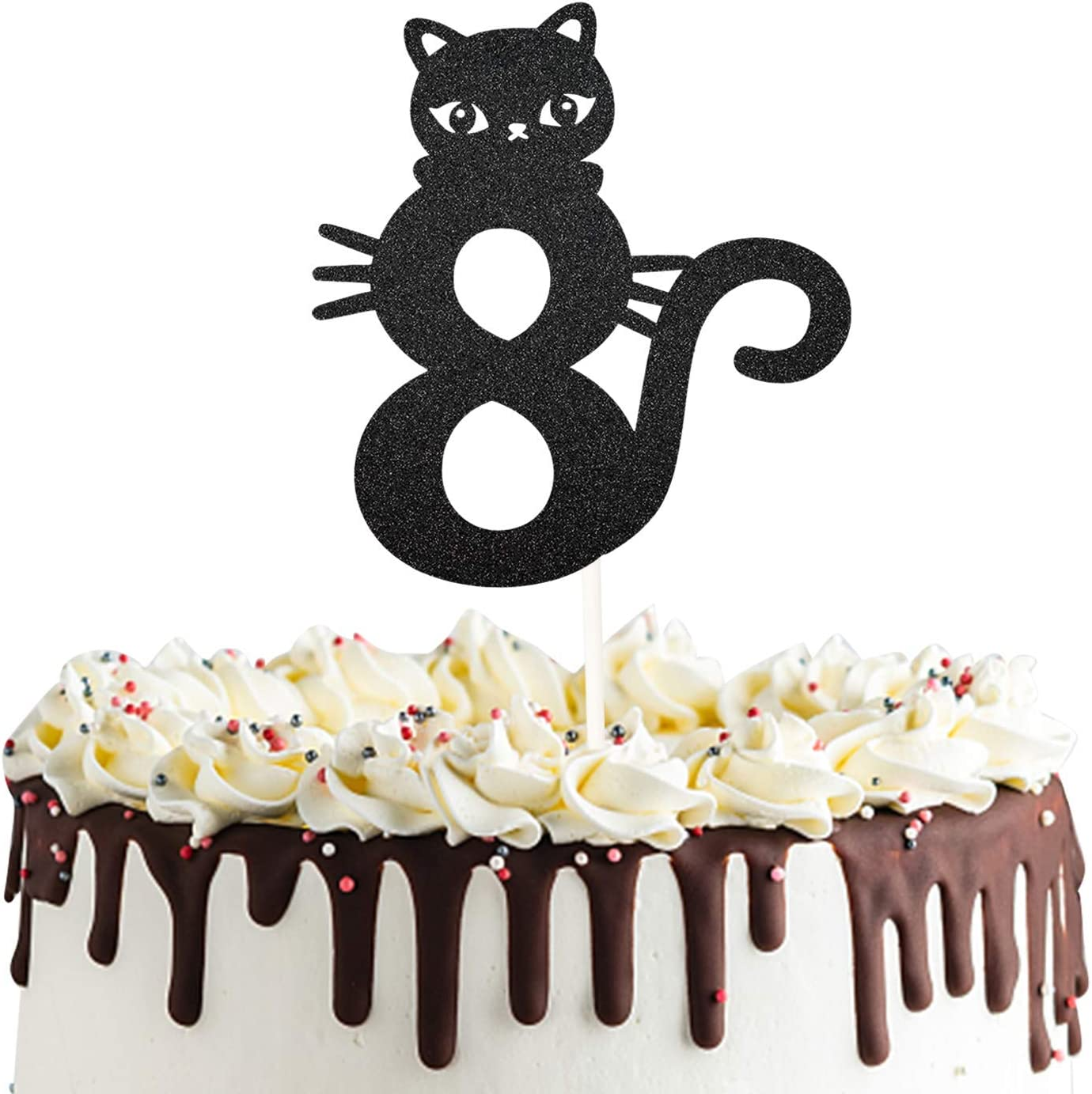 Number 8 Kitty Cat Cake Topper for Happy Eighth 8th Birthday,Baby Shower 8th Wedding Anniversary Party Decorations