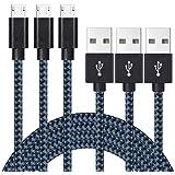 Belog【3本セット 2M】usbケーブル Micro USBケーブル - 充電ケーブル 2.0 急速充電 高耐久 高速データ転送 充電 Android, Samsung, Huawei, Nokia, LG, HTC その他対応(ダークブルー)