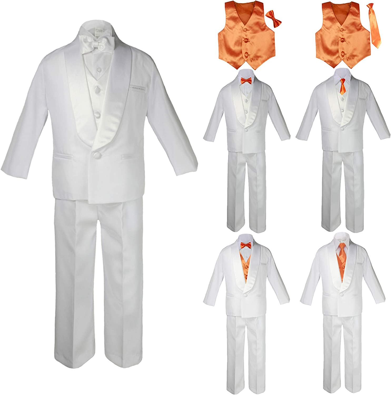 Free Silver Tie 5-20 New Boy Toddler Kid Formal Wedding Party Tuxedo Suit Vest