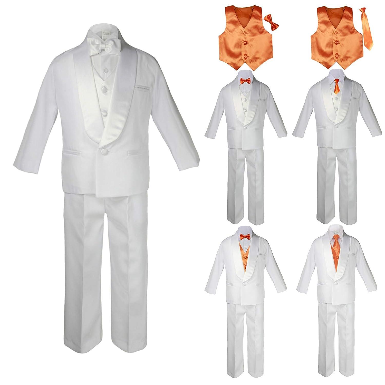 fc41b9d769 Amazon.com: Baby Kids Child Kid Toddler Boy Teen Formal Wedding Party White Suit  Tuxedo Set Orange Satin Vest Bow Tie Necktie Sm-20: Clothing