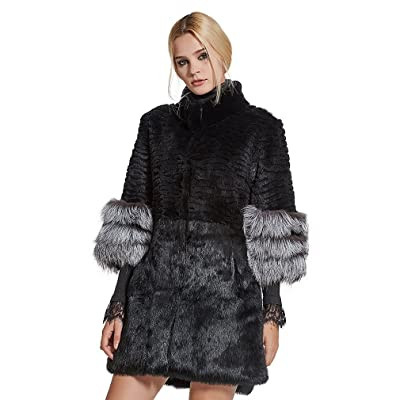 Furstory Women's Long Real Rex Rabbit Fur Coat with Fox Fur Cuff Warm Coat 3/4 Sleeve Stand up Collar - Fur Story