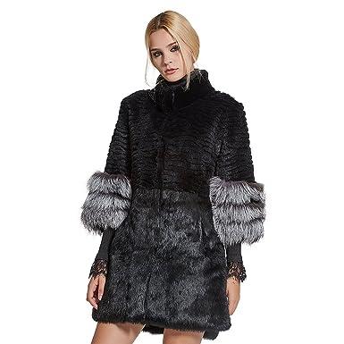 687ba5b86b Fur Story Women's Long Real Rabbit Fur Coat with Fox Fur Cuff 3/4 Sleeve