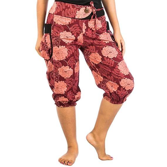 e32d0183e64 Lofbaz Women s Hmong Cotton Printed Harem Pants Floral 1 Pink   Burgundy  One Size  Amazon.ca  Clothing   Accessories