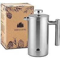 Groenenberg Cafetera Francesa 0,35 litro (2 Tazas) | Cafetera émbolo de Acero Inoxidable (INOX) | French Press de Doble…