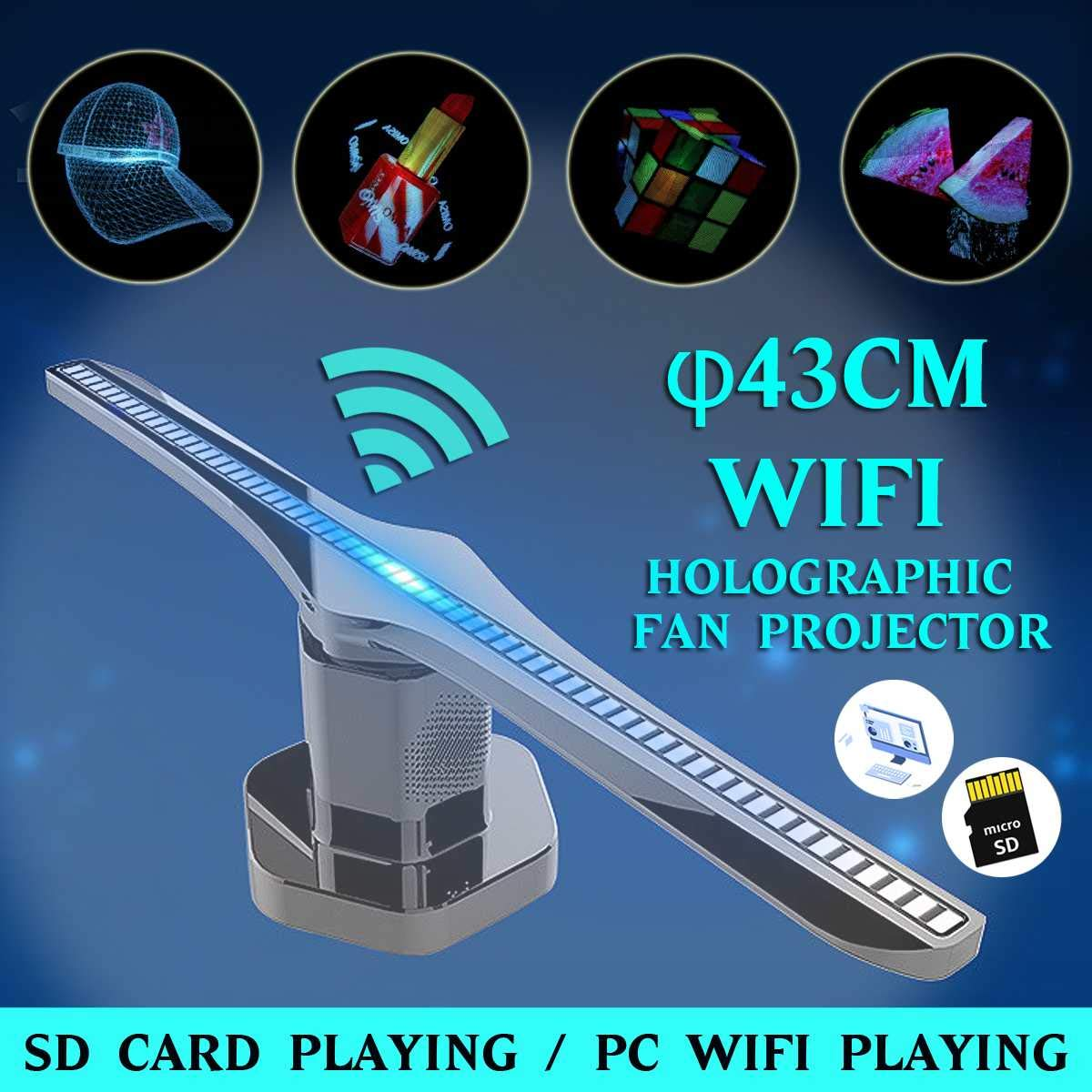 224 Leds Holograma 3D Proyector Ventilador con 16G TF holográfica ...