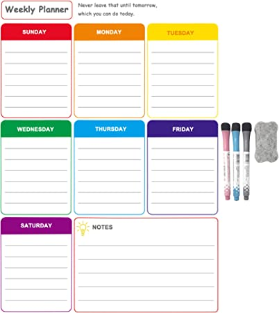 Office 8 Markers /& Eraser Included White Magnetic Dry Erase Weekly Planner Board for Refrigerator by LOBZON for Family Fridge Weekly Whiteboard Calendar w//Stain Resistant Technology Home