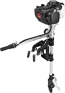 Sky 4-Stroke 1.4HP Superior Engine Outboard Motor Inflatable Fishing Boat Motor(Black)