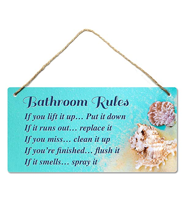Beach Bathroom Decor, 12″x6″ PVC Plastic Wall Decoration Hanging Sign, Water and Humidity Proof, Bathroom Rules, Seashell Bathroom Decor, Beach Bathroom Decor and Accessories, Seashell …