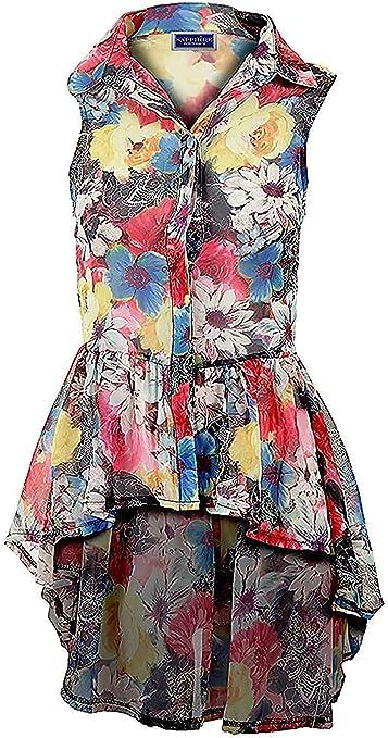 Damas Gasa Con Cuello Blusa Rosa Floreado Cola De Pez Camisa Sin Mangas Camiseta 8-14: Amazon.es: Ropa y accesorios