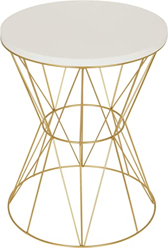 Kate and Laurel Mendel Round Metal Accent Table, 16x16x20, White Gold