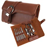 Allnice 11pcs Manicure Set Luxury/Deluxe Genuine Brown Leather Nail Care Personal Manicure & Pedicure Set, Manicure Travel & Grooming Set Kit, Nail Clipper (Brown)