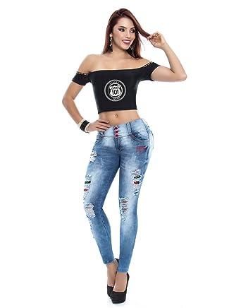 e9d47cf90 Pantalon Vaquero De Mujer Jeans Push-up Levanta Cola Colombiano Elástico  Ajustado con Desgastes  Amazon.es  Ropa y accesorios