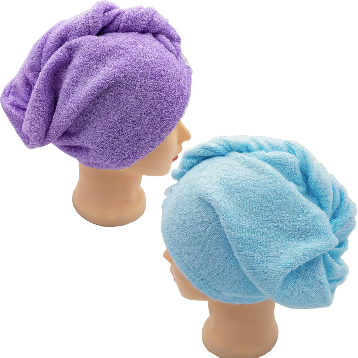 Hair Towel Wrap Long Hair Towels Turban Twisty Towel Bamboo Fiber Antibacterial Super Absorbent For women (Purple+Blue)