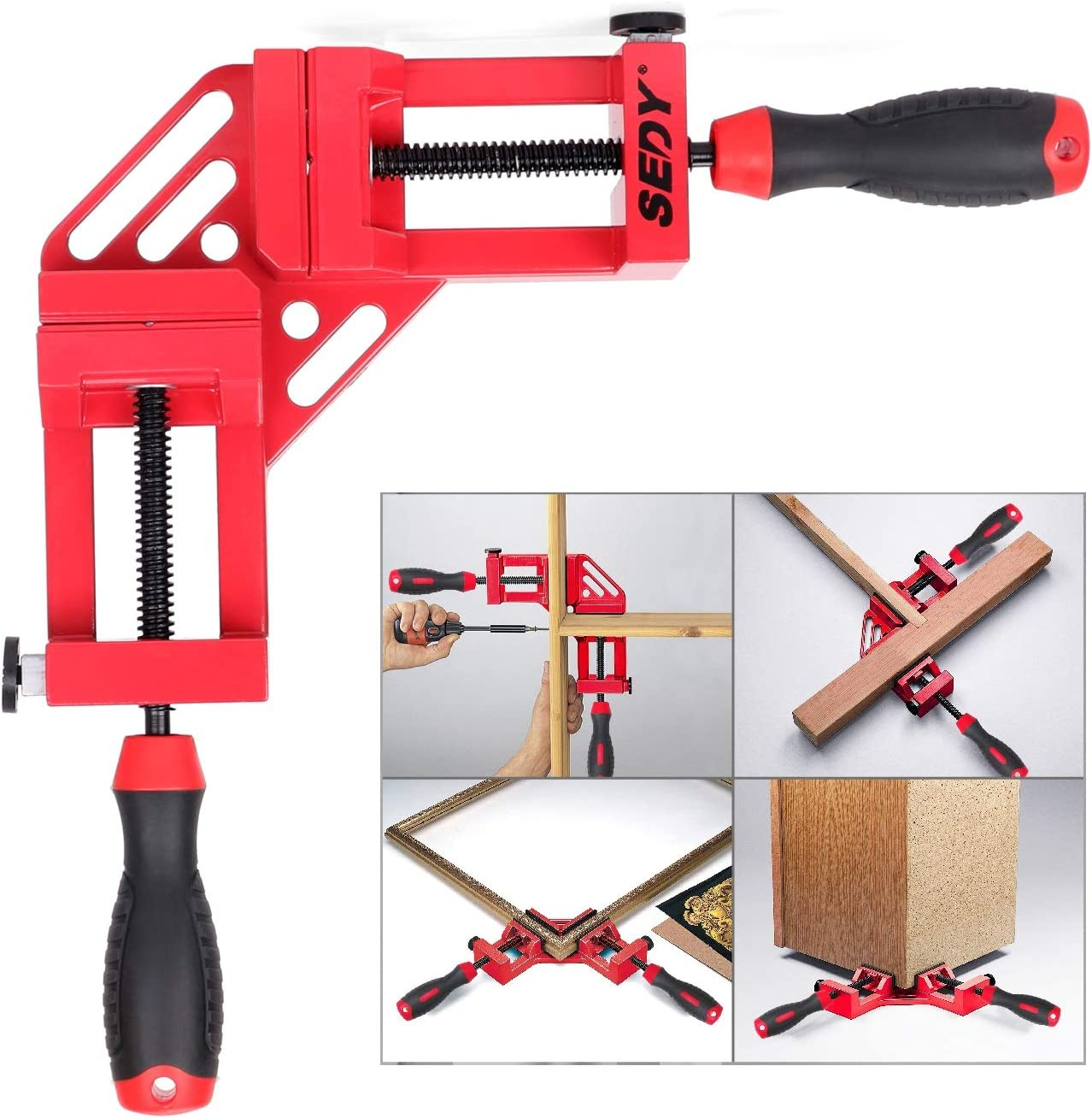 Aluminum Alloy Corner Clamp for Woodworking Picture Framing Drilling Doweling Corner Clamp Quick and Accurate SEDY 90 Degree Right Angle Clamp