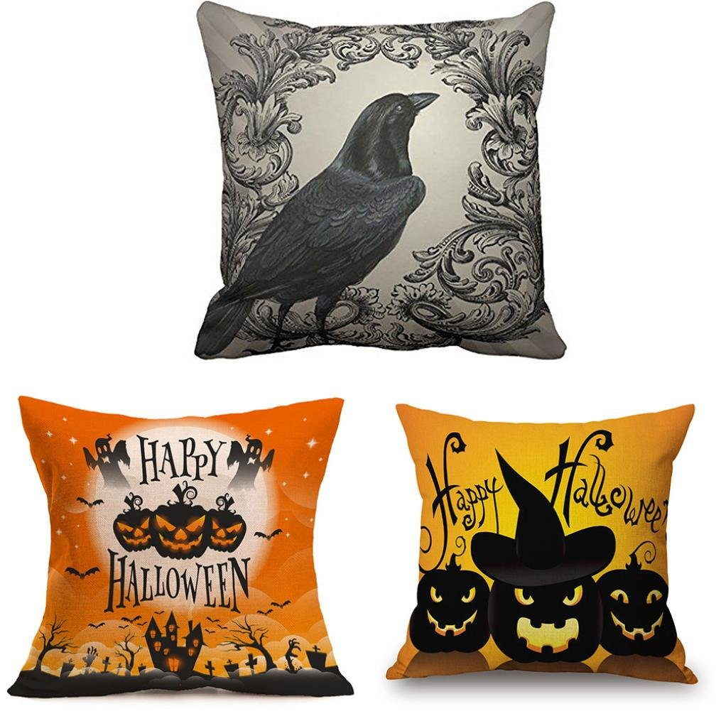 Pillow Case Neartime Happy Halloween Pillow Cases Linen Sofa Cushion Cover Home Decor (Free, C) by NEARTIME (Image #1)
