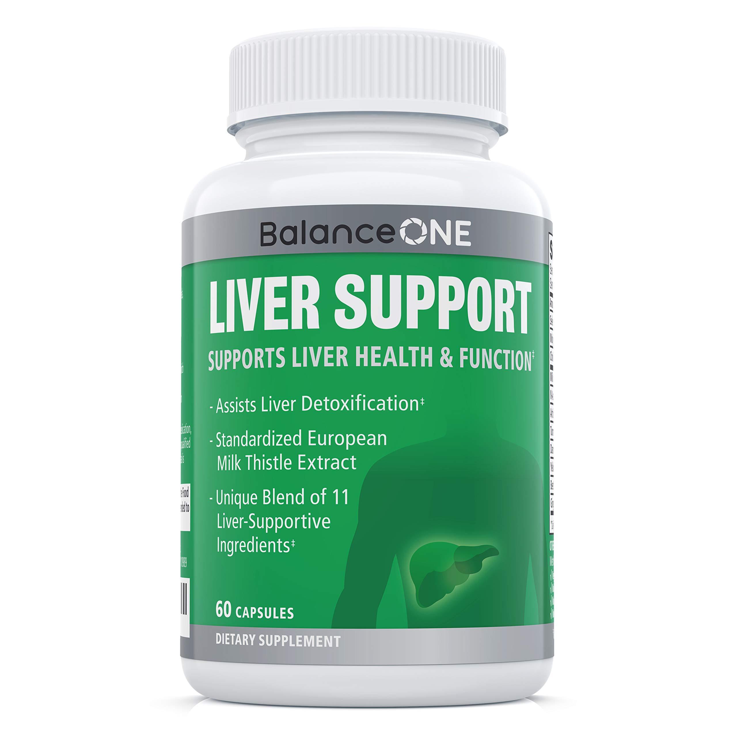 Liver Support by Balance ONE - 11 Antioxidant Ingredients to Promote Liver Health - Milk Thistle, Molybdenum, Dandelion, Artichoke - Vegan, Non-GMO - 30 Day Supply