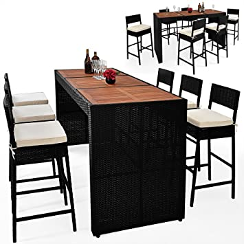 Bar de jardin chaise haute table tabouret - Polyrotin Bois Acacia ...