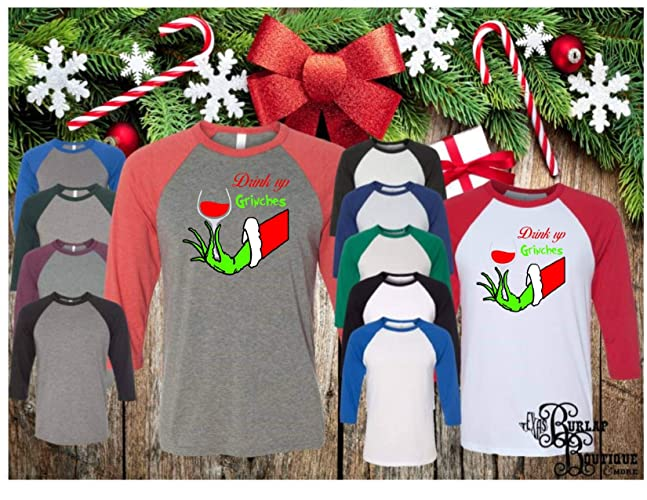 95a0c2ae Handmade Christmas T shirt Collection ~ Drink up GRINCHES it's Christmas,  BELLA+CANVAS ~ Unisex 3/4 Sleeve Raglan Baseball Tee T shirt Unisex, Toddler  and ...