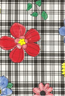 Plaid Flower Flannel Backed Vinyl Tablecloth, Black, 70 Inch Round